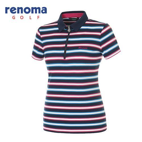[레노마골프]여성 멀티 스트라이프 반집업 반팔 티셔츠 RATS81531-NY