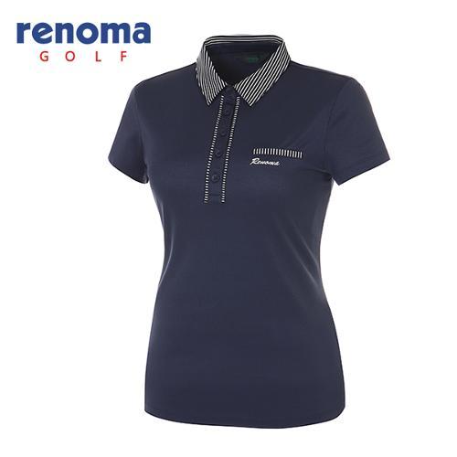 [레노마골프]여성 스트라이프 카라 심플 반팔 티셔츠 RATS7D531-NY