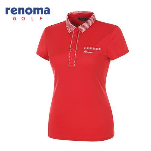 [레노마골프]여성 스트라이프 카라 심플 반팔 티셔츠 RATS7D531-RD
