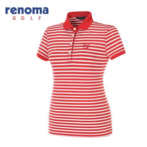 [레노마골프]여성 보더 스트라이프 반팔 카라 티셔츠 RATS7S631-RD