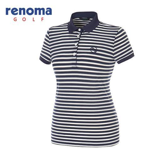 [레노마골프]여성 보더 스트라이프 반팔 카라 티셔츠 RATS7S631-NY