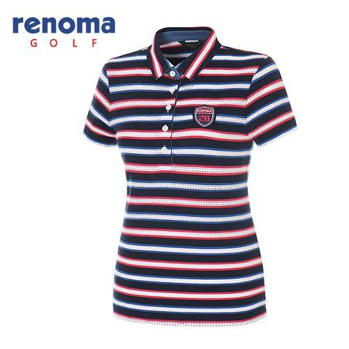 [레노마골프]여성 메쉬 스트라이프 반팔 카라 티셔츠 RATS87631-HP