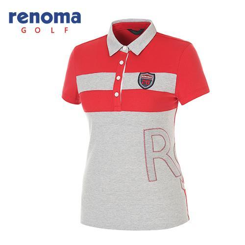 [레노마골프]여성 볼드 스트라이프 폴로넥 반팔 티셔츠 RATS84631-RD