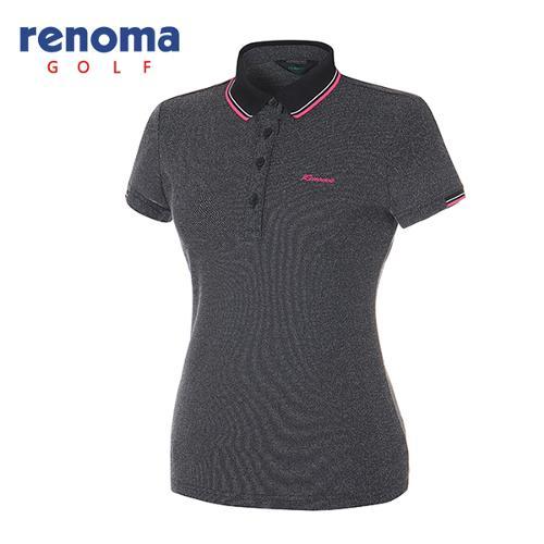 [레노마골프]여성 멜란지 피케 반팔 카라 티셔츠 RATS75531-BK
