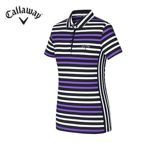 [캘러웨이]여성 컬러 스트라이프 Y에리 티셔츠 CWTYF6179-604