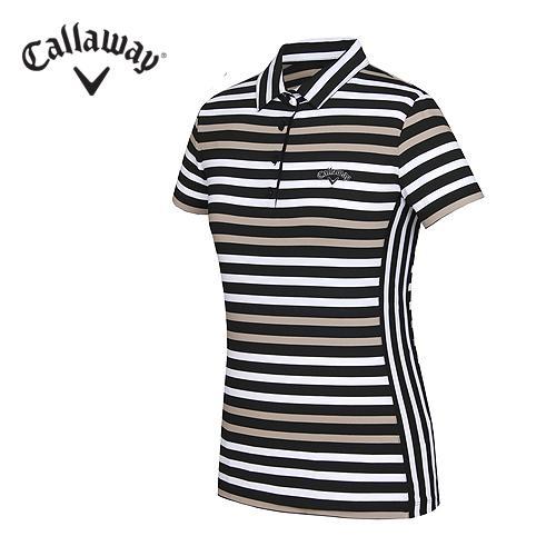 [캘러웨이]여성 컬러 스트라이프 Y에리 티셔츠 CWTYF6179-509