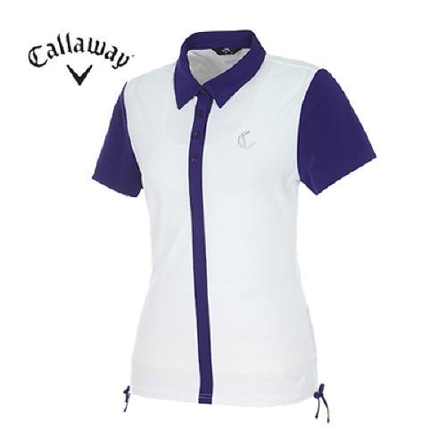 [캘러웨이]여성 컬러블록 버튼 티셔츠 CWTYD6122-100
