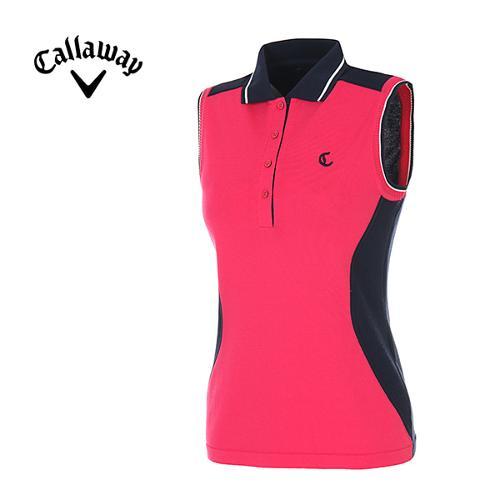 [캘러웨이]여성 컬러블럭 슬리브리스 카라 티셔츠 CWSRE6201-403