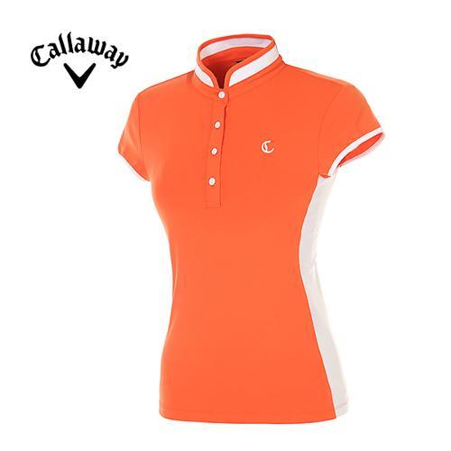 [캘러웨이]여성 컬러 블록 하프넥 반팔 티셔츠 CWTHE6104-301