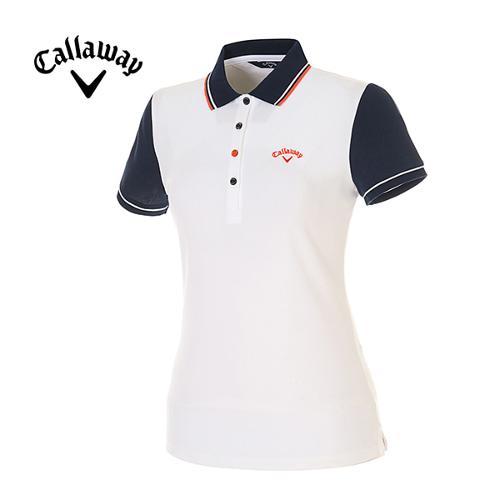 [캘러웨이]여성 컬러 배색 피케 반팔 폴로넥 티셔츠 CWTPE6192-100
