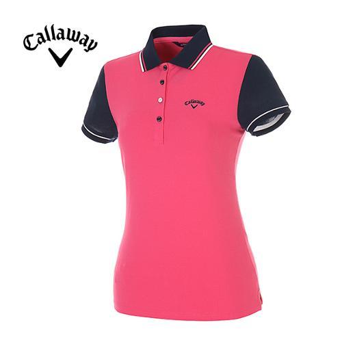 [캘러웨이]여성 컬러 배색 피케 반팔 폴로넥 티셔츠 CWTPE6192-403