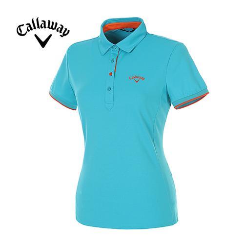 [캘러웨이]여성 컬러 라인 포인트 반팔 카라 티셔츠 CWTYE6193-901
