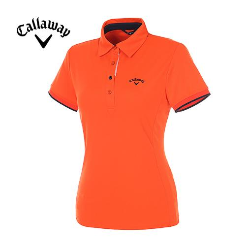 [캘러웨이]여성 컬러 라인 포인트 반팔 카라 티셔츠 CWTYE6193-301