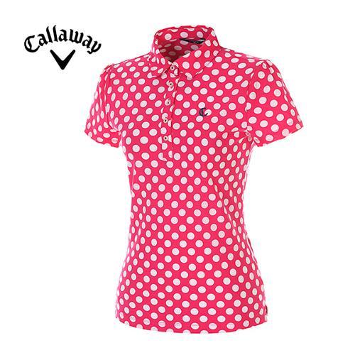 [캘러웨이]여성 폴카 도트 반팔 카라 티셔츠 CWTYE6112-403