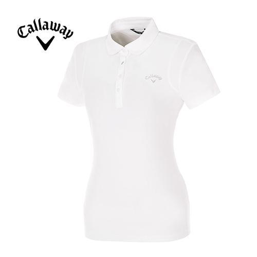[캘러웨이]여성 스와로브스키 로고 솔리드 카라 티셔츠 CWTYE6151-100