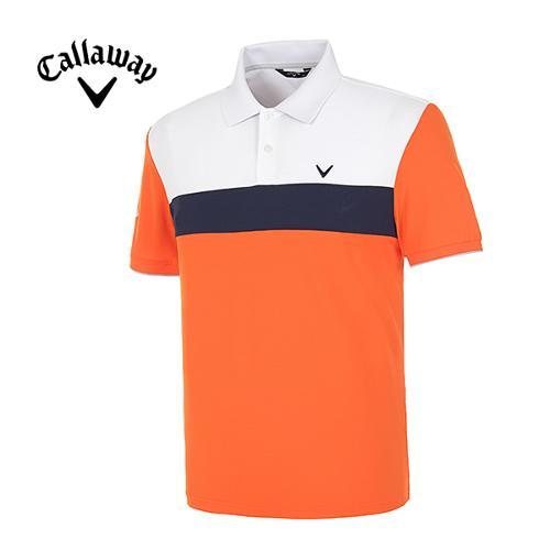 [캘러웨이]남성 컬러블럭 스트라이프 반팔 폴로넥 티셔츠 CMTPE2197-301