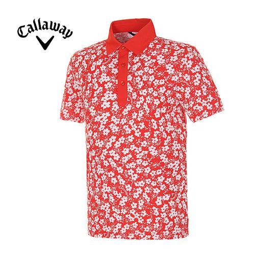 [캘러웨이]남성 플라워 프린트 소프트 반팔 카라 티셔츠 CMTYE2153-500