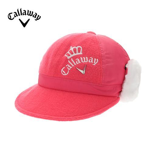 [캘러웨이]여성 페이크퍼 귀달이 메탈 로고 캡 모자 CWACD8805-403