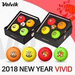 볼빅 VIVID 비비드 3피스 2018 신년 골프볼 골프공 4ea 볼마커