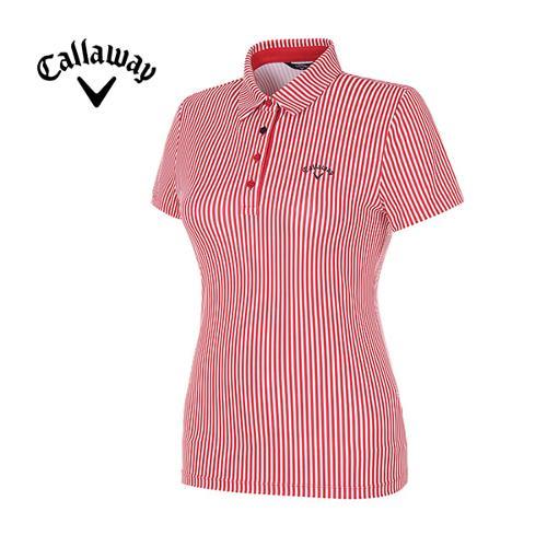 [캘러웨이]18SS 여성 스트라이프 반팔 카라 티셔츠 CWTYH6112-500