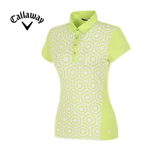[캘러웨이]여성 옵티컬 프린트 스트레치 반팔 카라 티셔츠 CWTYF6114-204