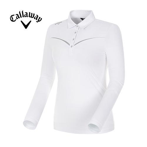 [캘러웨이]18SS 여성 웰딩 쉐브론 라인 긴팔 카라 티셔츠 CWTYH5102-100