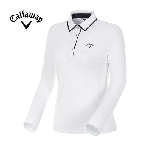 [캘러웨이]18SS 여성 컨트라스트 라인 카라 긴팔 티셔츠 CWTYH5101-100