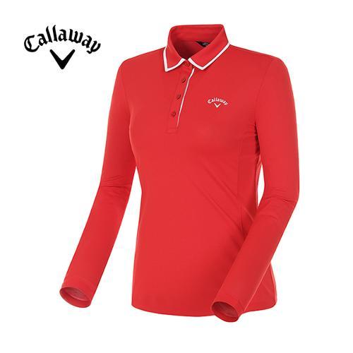[캘러웨이]18SS 여성 컨트라스트 라인 카라 긴팔 티셔츠 CWTYH5101-500