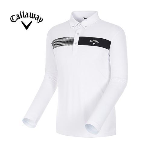[캘러웨이]18SS 남성 라인 배색 캐주얼 긴팔 카라 티셔츠 CMTYH1172-100