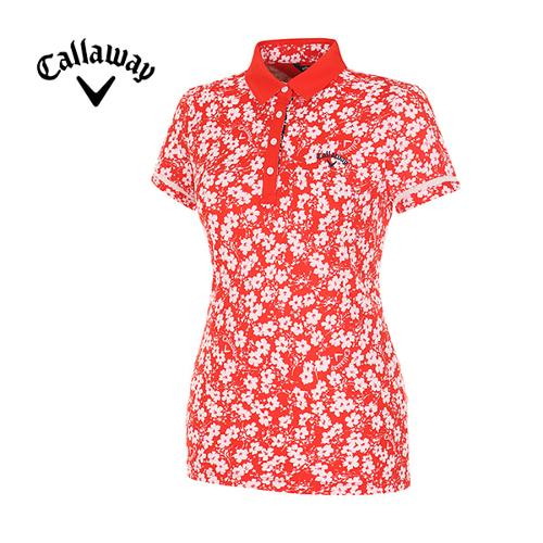 [캘러웨이]여성  플로럴 프린트 반팔 카라 티셔츠 CWTYE6153-500
