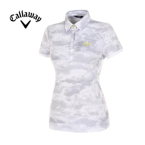 [캘러웨이]여성  올오버 프린트 반팔 카라 티셔츠 CWTYE6111-190