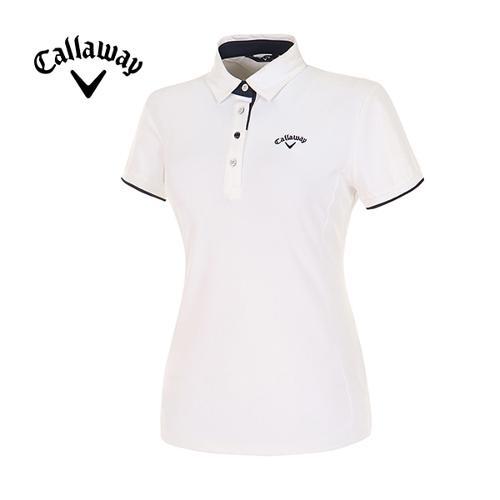 [캘러웨이]여성  컬러 라인 포인트 반팔 티셔츠 CWTYE6193-100