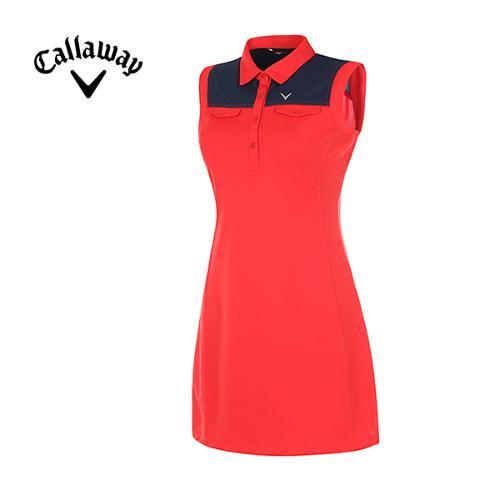[캘러웨이]여성  슬리브리스 원피스 티셔츠 CWTOE6162-500
