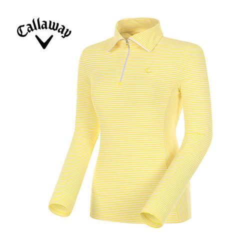 [캘러웨이]여성  스트라이프 반집업 긴팔 티셔츠 CWTHE5102-203