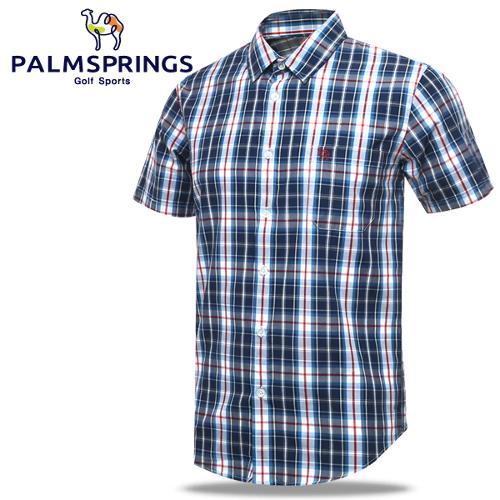 [팜스프링] 멀티체크패턴 가슴포켓 남성 반팔 셔츠/골프웨어_236710