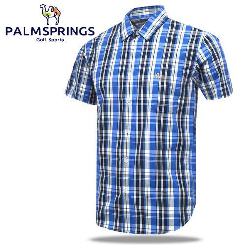 [팜스프링] 멀티체크패턴 가슴포켓 남성 반팔 셔츠/골프웨어_236709