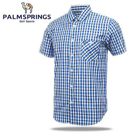 [팜스프링] 멀티배색잔체크 가슴포켓 남성 반팔 셔츠/골프웨어_236706