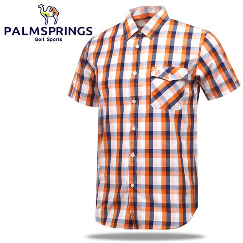 [팜스프링] 체크배색 가슴포켓 남성 반팔 남방/셔츠/골프웨어_236704