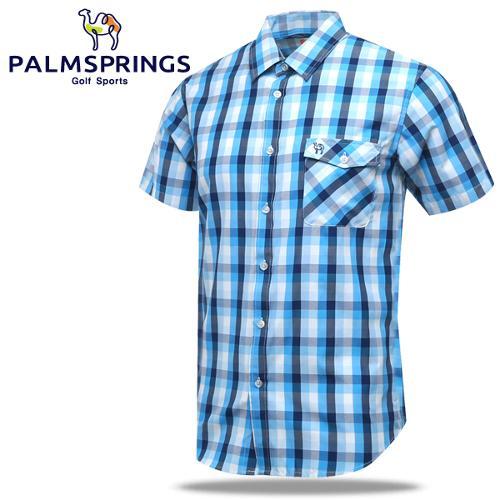 [팜스프링] 체크배색 가슴포켓 남성 반팔 남방/셔츠/골프웨어_236703