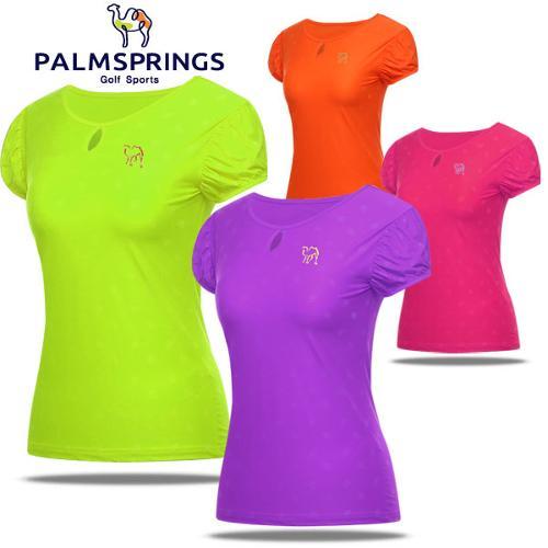[팜스프링] 셔링소매 라운드넥 여성 반팔 티셔츠/골프웨어_236883