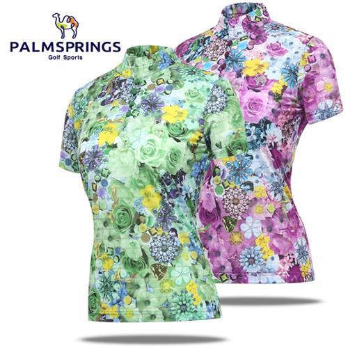 [팜스프링] 플라워무늬 셔링넥 큐빅로고 여성 반팔 티셔츠/골프웨어_236881
