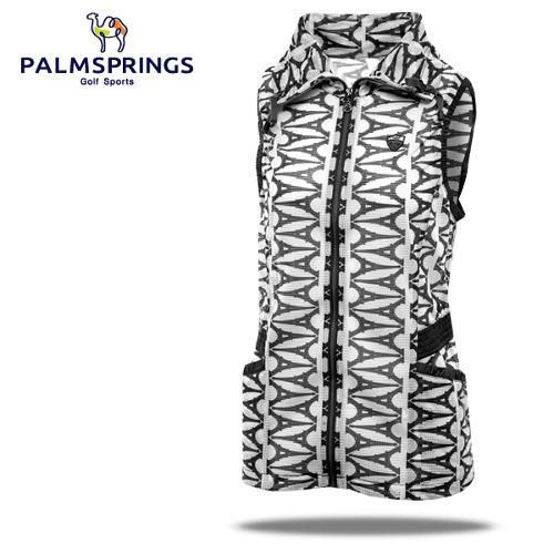[팜스프링] 매쉬 에펠탑무늬 셔링밴드 여성 바람막이 조끼/골프웨어_236689