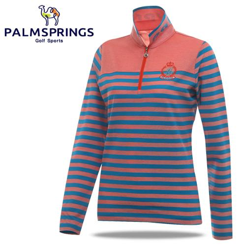 [팜스프링] 면폴리 배색줄무늬 하프집업 여성 긴팔 티셔츠/골프웨어_236813
