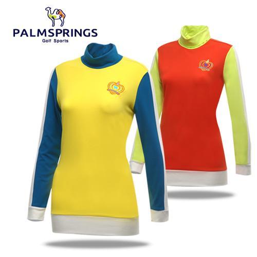 [팜스프링] 레이온혼방 컬러배색 목폴라 여성 긴팔 티셔츠/골프웨어_236810