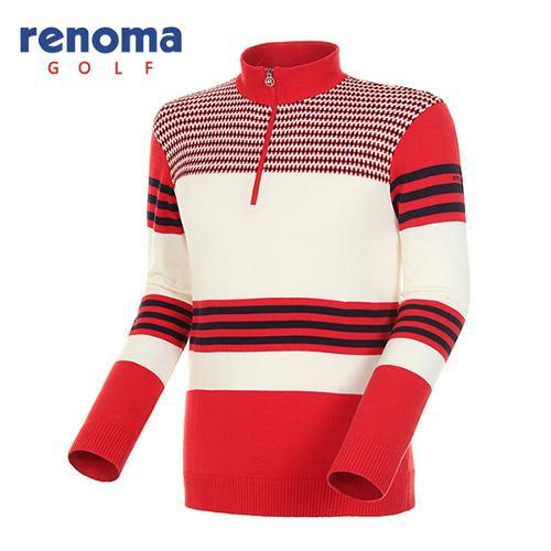 [레노마골프]남성 패턴 믹스 울 코튼 반집업 스웨터 RAKP01511-RD