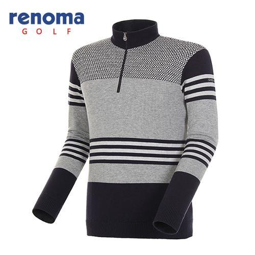 [레노마골프]남성 패턴 믹스 울 코튼 반집업 스웨터 RAKP01511-NY