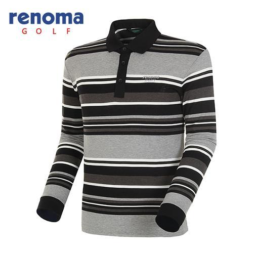 [레노마골프]남성 멀티 스트라이프 긴팔 피케 티셔츠 RATS18511-MG