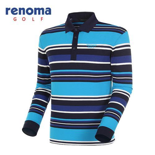 [레노마골프]남성 멀티 스트라이프 긴팔 피케 티셔츠 RATS18511-BL
