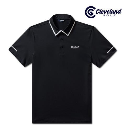 [클리브랜드골프] 카라배색 냉감스판 남성 반팔 티셔츠/골프티셔츠/골프웨어_CGKMTS731-BK