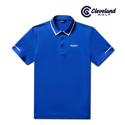 [클리브랜드골프] 카라배색 냉감스판 남성 반팔 티셔츠/골프티셔츠/골프웨어_CGKMTS731-BL